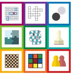Flat icon play set of cube sea fight jigsaw and vector