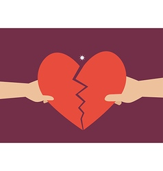 Hand of a man and woman tearing apart heart symbol vector image