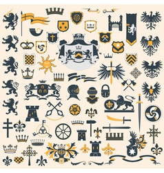 Heraldic Design Elements set vector image