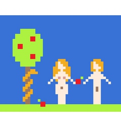 illustration of adam and eve garden of eden near a vector image vector image