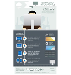 infographic technology computer set vector image