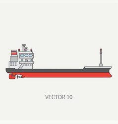 line flat color icon container cargo ship vector image