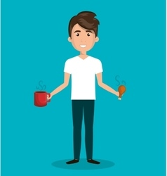 man cartoon cup food isolated vector image