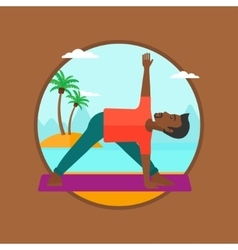 Man practicing yoga triangle pose on the beach vector