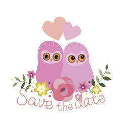 Save the date design with two owls vector image vector image
