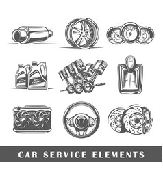 Set of elements of the car service vector