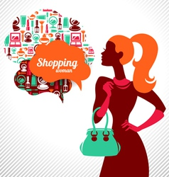 Shopping woman with elegant stylish design vector image vector image