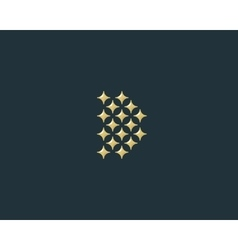 Stars letter d logotype luxury abc icon vector
