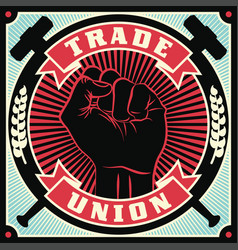 Trade union conceptual retro vector