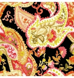 Watercolor paisley seamless pattern vector