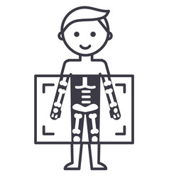 X-raymedical diagnostics man line ico vector