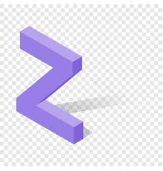 z letter in isometric 3d style with shadow vector image