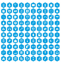 100 mobile app icons set blue vector