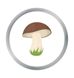 Mushroom icon in cartoon style for web vector