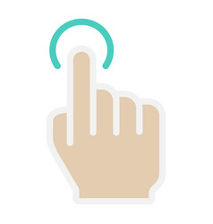 Single tap flat icon touch and hand gestures vector