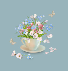 Herb and flowers in the cup vector