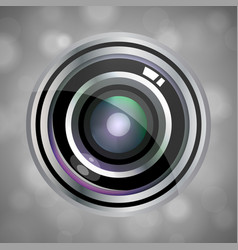 Modern realistic lens design on grey abstract vector