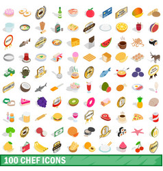 100 chef icons set isometric 3d style vector image