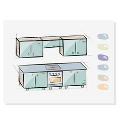 kitchen interior drawing vector image