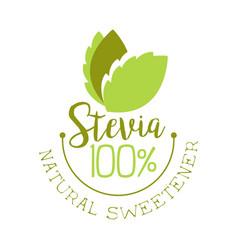 Stevia natural sweetener logo healthy product vector