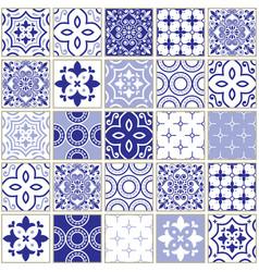 veector navy blue tiles pattern azulejo design vector image