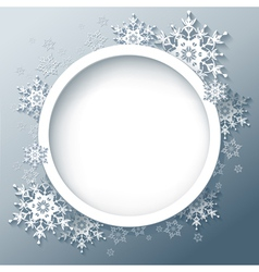 Winter abstract background with 3d snowflakes vector