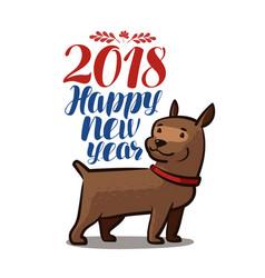 2018 happy new year animal dog doggie pet vector