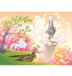 Unicorn and mythological landscape vector