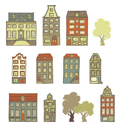 Set of hand-drawn buildings vector