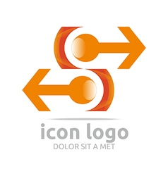 Logo icon arrow orange design symbol abstract vector