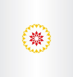 Abstract red yellow flower sign symbol vector