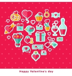 Valentine background with flat elements vector