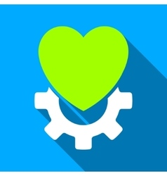 Mechanical heart flat long shadow square icon vector