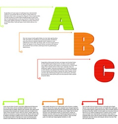 Letters a b c option items with text vector