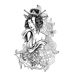 Geisha with floral vector