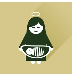 Flat icon with long shadow virgin mary and jesus vector