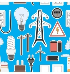 Energy electricity power icons in colors pattern vector