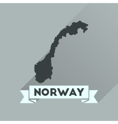 Flat icon with long shadow norway map vector