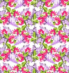 Beautiful floral seamless pattern with lilac vector
