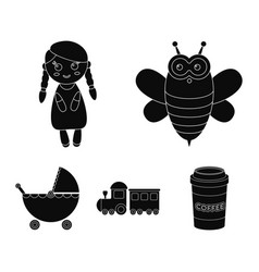 Bee doll train strollertoys set collection vector