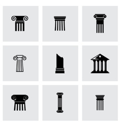 black column icon set vector image vector image