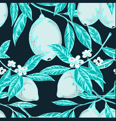 Blue colored lemon pattern vector