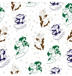 Blue Green Brown Surfing Monkeys Seamless vector image
