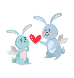 Bunnies boy and girl with angel wings isolated vector