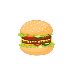 Burger flat isolated vector
