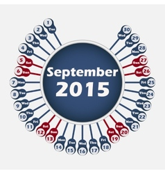 calendar 2015 September template vector image vector image