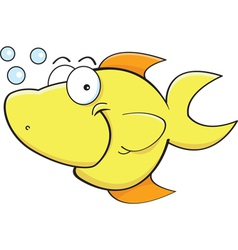 Cartoon Happy Yellow Fish vector image