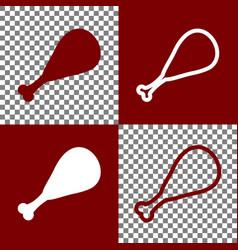 Chicken leg sign bordo and white icons vector