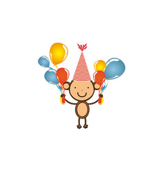 color monkey with bolloons in the hands party icon vector image vector image