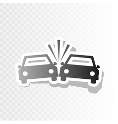 Crashed cars sign new year blackish icon vector